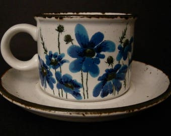 """Set of 4 ~ 1970's Midwinter Stonehenge """"Spring Blue"""" Cups & Saucers ~ Made in England"""