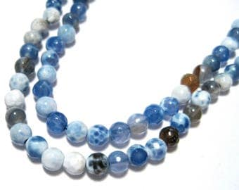 1 Strand Natural Fire Agate 4mm Faceted Stone Beads Blue White Gemstone Dyed