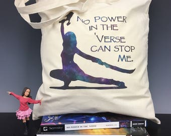 No Power in the Verse Can Stop Me w/ Silhouette of River Tam - Firefly Serenity Inspired Tote Bag