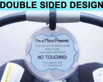 Boy Preemie sign, newborn, baby car seat tag, baby shower gift, stroller tag, baby Preemie no touching car seat sign- LAMINATED TAG