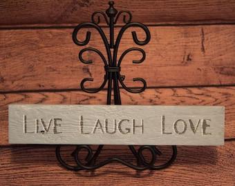 "Hand Stenciled 12"" Fencewood Sign  - LIVE LAUGH LOVE, Vintage Chalk Paint"