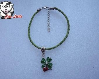 Braided bracelet Ladybug 4 leaf clover