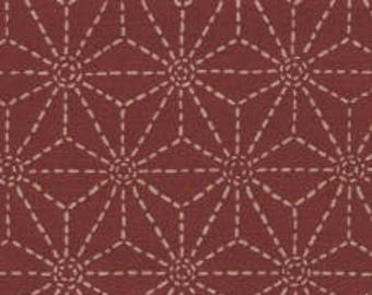 Fabric - Sevenberry brick red stitched star print - medium weight woven cotton