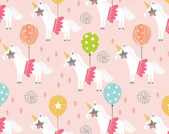 Fabric -Blend Fabrics - Calliope collection - pink unicorn - medium weight woven cotton fabric.