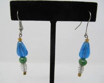 Drop Hook Earrings - Blue/Green