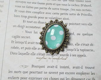 Bronze oval brooch green turquoise with polka dots