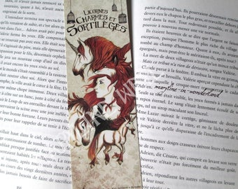 "Bookmark red ""unicorns, charms and spells"""