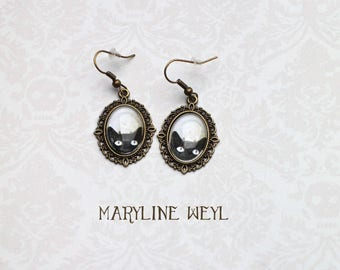 Black Cat Head earrings