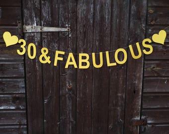 Birthday garland, 30 and fabulous, 40, 50, 60 birthday photo prop, birthday gift
