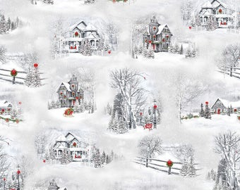 Home for the Holidays Christmastime Winter Scenic Fabric; 25897-K; Quilting Treasures; Winter, Holiday Fabric; Christmas Fabric