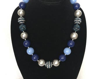 Officer Hopps Inspired Navy, Blue, and Silver Grey Chunky Statement Necklace