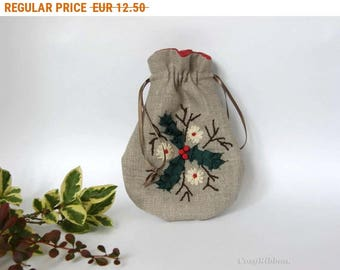 Summer Sale , Christmas fabric gift bag, embroidered holy design on linen pouch, drawstring Christmas pouch