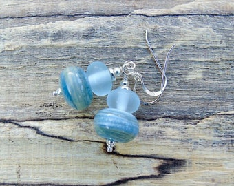 Denim blue lampwork glass sterling silver earrings