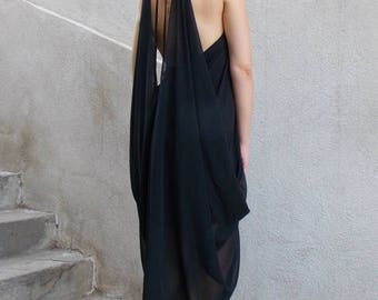 ON SALE Black Summer Dress / Black Dress / Backless Summer Dress / Chiffon Dress / Little Black Dress TDK132