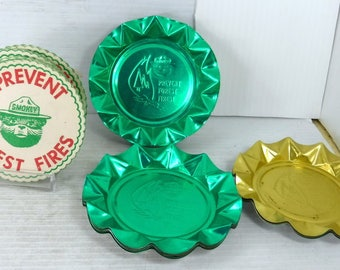 Smokey The Bear Aluminum Ashtrays Lot of 12 and Coasters Prevent Forest Fires