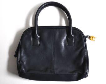 Vintage Navy Blue Etienne Aigner Leather Tote