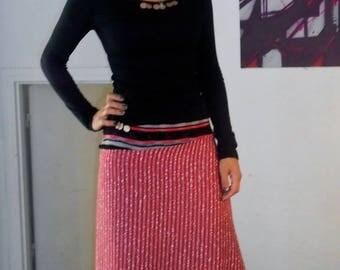 Jupe forme circus en laine  rosée lurex