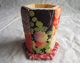 12cm Antique Silk Kimono Sampler Pen Stand - made with antique silk Japanese kimono fabric
