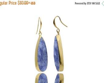 SUMMER SALE - Sodalite earrings,gold earrings,gemstone earrings,briollete earrings,teardrop earrings,dangle earrings,statement