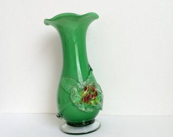 Vintage Glass Vase, Hand Blown Vase