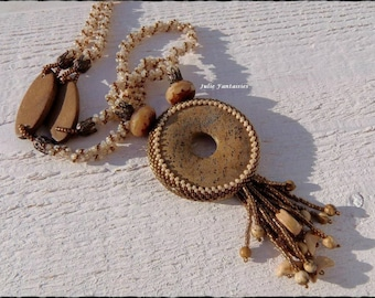 Necklace gemstone, seed beads, wooden beads, hand woven necklace