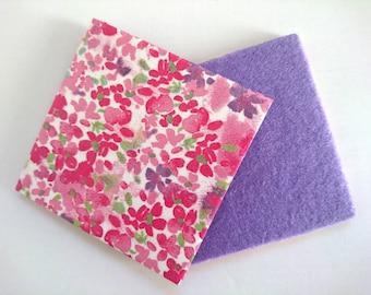 Single Handmade Coaster. Ceramic Tile, Decoupaged, Felt Back. Floral, Pink, Purple. Water Resistant and Heatproof. Gift. 10cm x 10cm