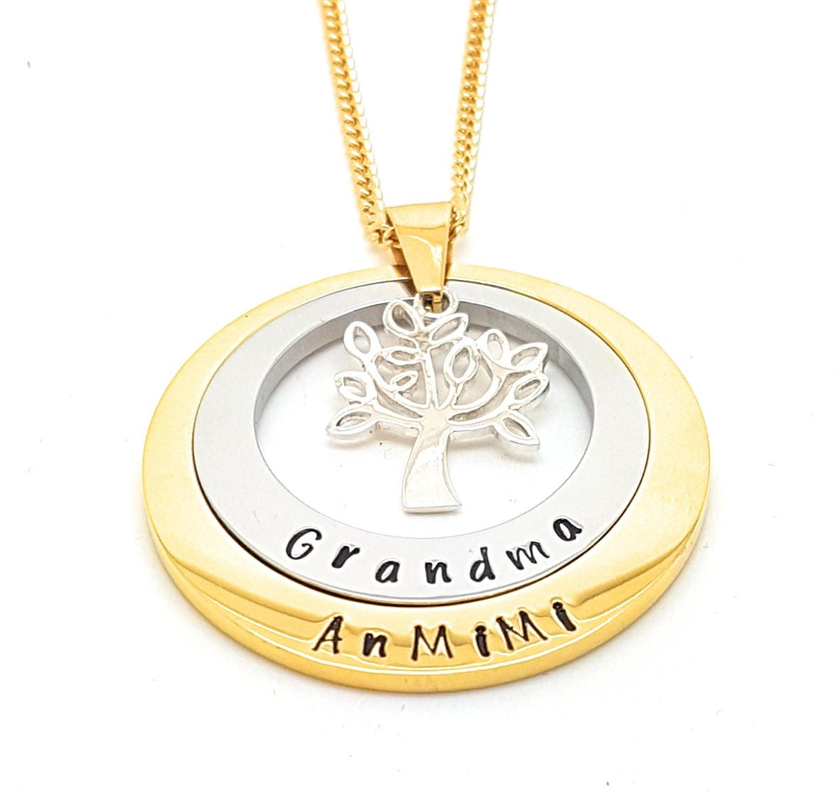 Layered family names tree of life pendant personalised jewellery layered family names tree of life pendant personalised jewellery hand stamped name necklaces gold family name pendants gift australia aloadofball Image collections