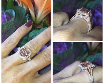 Morganite Engagement Ring 4.15ct Cushion Cut Morganite Natural2.05ct Diamonds Halo Anniversary Ring 18k Rose Gold Ring Pristine Custom Rings