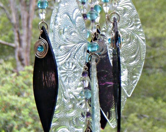Glass Wind Chimes, Handmade, glass in Aubergine and Clear glass, glass beads