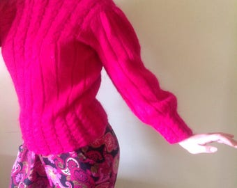Pink mohair sweater,mohair hot pink sweater,kiwi  mohair wool pink sweater, mohair wool sweater,kiwi wool, NZwool swearer pink,size 10 NZ.
