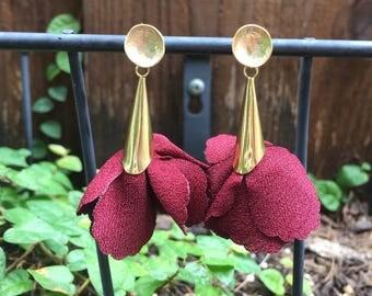 Maroon Rose Petal Earrings