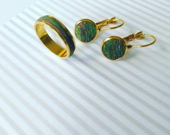 Set earrings and ring-set earrings and ring.
