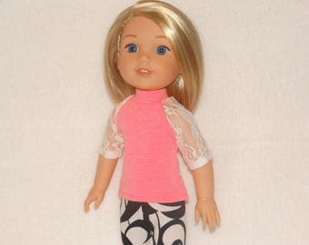 Handmade Lace Baseball T-shirt and Leggings to fit 14.5 in Dolls such as wellie wishers doll clothes AG