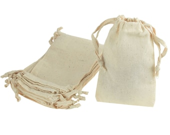 Unbleached Cotton Favor Bags with Drawstrings, 12-Piece