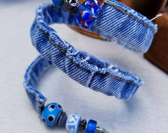 Upcycled Denim Bracelet made from Blue Jeans with Blue Beads