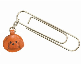 Toy poodle Dog Leather Charm/Paper Clip *VANCA* Made in Japan #61048 Free Shipping