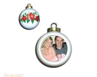 Heirloom Poinsettia Porcelain Photo Ball Ornaments - Personalized Photo Ornament - Christmas Ornament - Photo Ornament - #Z05
