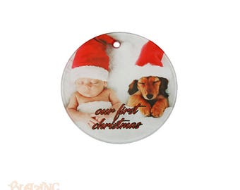 Glass Round Personalized Photo Holiday Ornament