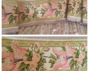 SALE~So beautiful unused vintage tapestry corals and peachy pinks lilacs and roses pelmet lengths~ so romantic and pretty!