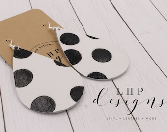 Black PokaDot on White Leather Cowhide Earrings