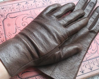 Vintage leather gloves, dark brown, size small (see description)