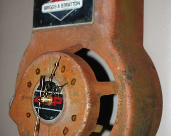 Custom Lawn Mower motor cover Clock...Handcrafted  1 of a kind