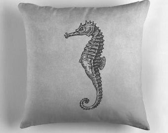 Seahorse Pillow, Sea Horses Decor, Gray Cushion, Sea Creatures, Gray Throw Pillow, Grey Decor, Ocean Home Decor