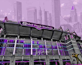 Ravens Stadium 5x7  matted on white  mat #1801