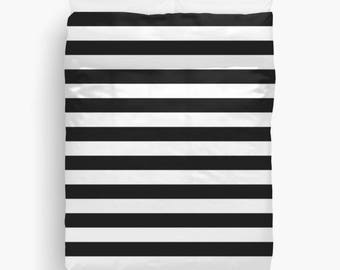 Striped DUVET COVER, Black and White Stripes, Girls Room Decor, Boys Bedroom Decor, Kids Bedding, Black and White Bedding, King, Queen, Twin