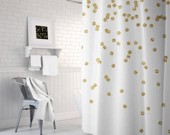 Gold Shower Curtain, Girls Bathroom Decor, Gold Confetti Bath Curtain, Fabric Shower Curtain, Teen Shower Curtain, Girls Shower Curtain