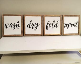 Wash Dry Fold Repeat - Wood Signs 4 Piece Set