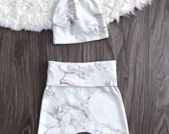 Organic baby leggings. Newborn hospital outfit with hat & headband. Gray carrera marble black white. Soft harem pants