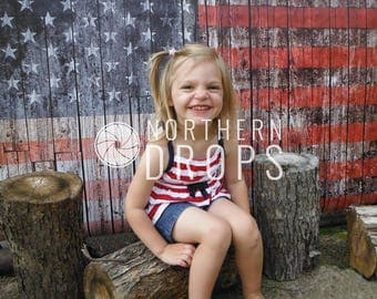 Photography Backdrop - American Flag On Wood - Weathered wood American flag photo backdrop - Wood flag printed backdrop 7ft x 5ft, 8ft x 5ft