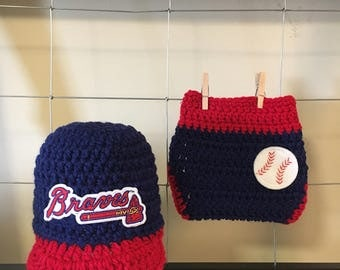 Newborn Atlanta Braves baseball cap and diaper cover